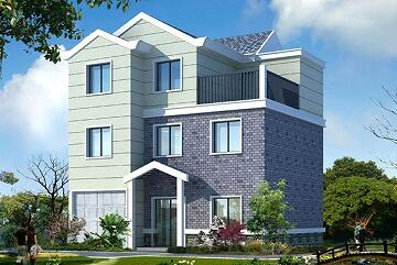 三层自建别墅设计图,带有室内车库,建筑面积274.2㎡