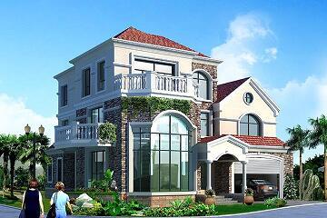 法式三层复式自建别墅,超级大气的洋房设计图,带有室内车库