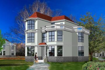 12X12.3米实用三层别墅设计图_复式客厅自建房设计图