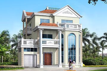 欧式三层复式自建房屋设计图,带有室内车库,占地面积147.7㎡,高端自建别墅设计图
