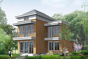 中式简约二层别墅设计图,8.44m*11.24m