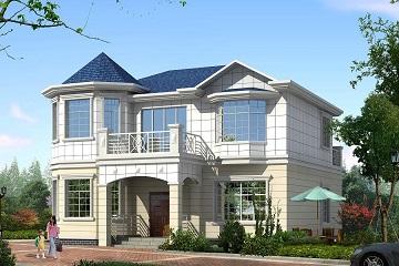 精致欧式二层小别墅,螺旋状楼梯,占地131㎡二层自建房设计图