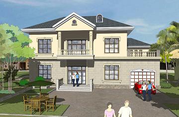 现代复式二层别墅设计图,带有室内车库,布局完善