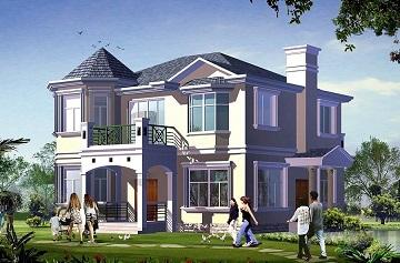 二层带有八角窗精致的小别墅设计图,占地143㎡,经济实用