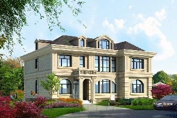 经典欧式二层自建别墅设计图,带有室内车库,布局紧凑