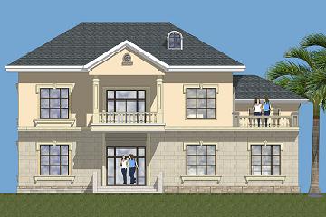 现代二层自建复式别墅设计图,带有大面积露台,占地156㎡