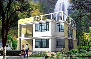 二层平顶别墅设计图,简单实用,造价合理