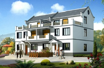 新中式三层双拼别墅设计图,单户占地89.45㎡,单户建筑面积226.62㎡