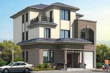 配色时尚的三层小别墅设计图,带有室内车库,符合现代流行趋势