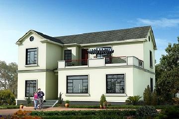 新中式二层小别墅设计图,占地141㎡,带有大面积露台