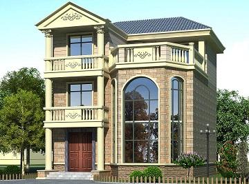 欧式复式三层别墅设计图,占地98㎡,农村自建房屋