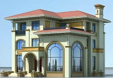 欧式经典三层自建复式别墅设计图,带有室内车库,高端大气,自建房首选