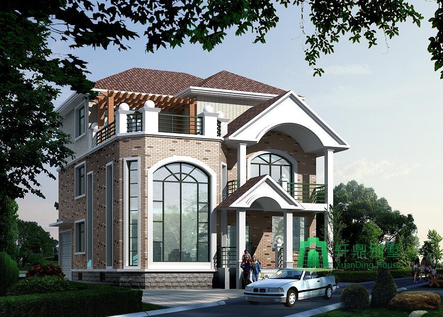 中式古典风格三层复式小别墅设计图,带有室内车库,实用性较强