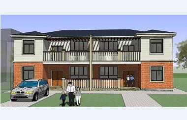 9.8x11.0双拼二层农村别墅设计图,经济实用