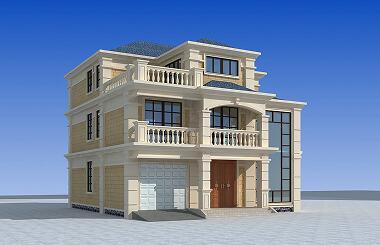 高端大气的三层自建别墅设计图,带有室内车库,弧状楼梯,高端户型设计