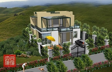 面宽12米,进深9米,占地110平方米左右的二层平顶房屋设计图