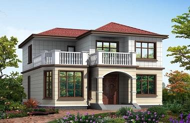 面宽13米,进深13米,占地170平方米经济二层小别墅设计图