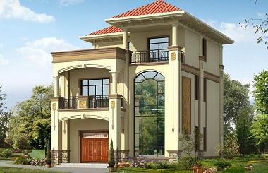 欧式三层自建别墅设计图,精致美观,带有大面积露台