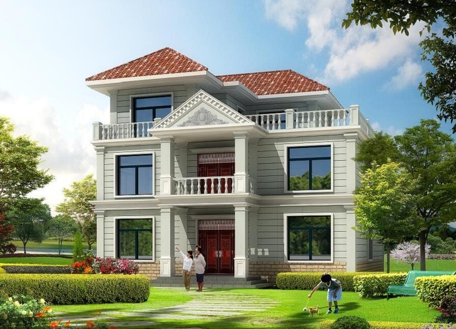 面宽11米,进深10米,占地面积120平方米左右二层半自建别墅设计图
