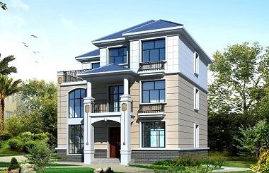 简单的三层自建房屋设计图,带有大面积露台,温馨舒适