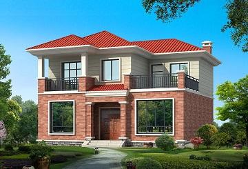 面宽11米,进深11米,占地130㎡左右,温馨的二层自建小别墅设计图