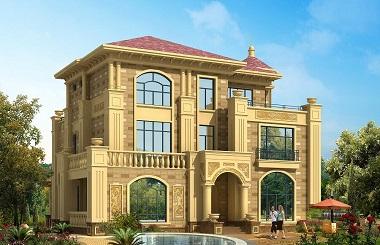 欧式复古自建三层复式别墅设计图,占地250平左右,奢华大气