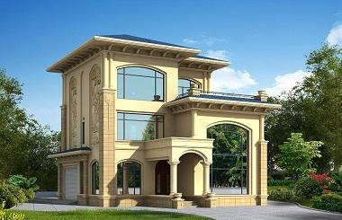 欧式三层自建房屋设计图,豪华三层复式别墅,带有室内车车库,造价35万左右,美观精致