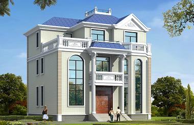 欧式古典三层自建别墅设计图,带有地下室12*12m,造价40万左右
