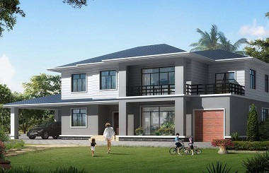 简约二层自建别墅设计图,轻奢自建房屋,带有室内外车库