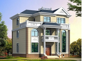 欧式三层尖顶自建房屋设计图,40万左右建高端别墅设计图
