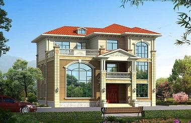 欧式三层复式自建别墅设计图,端庄大气,采光良好