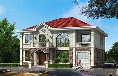 新中式田园风格的二层自建小别墅设计图,美观精致采光良好