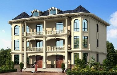 欧式精美双拼别墅设计图,适合同兄弟或者父母一起住的户型