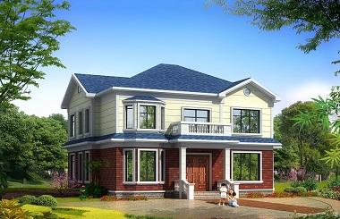 简约二层农村自建房屋设计图,16*13米,二层房间数量较多