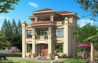 小户型高端大气的三层自建别墅设计图,带有大面积露台