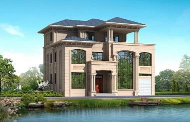 高端欧式三层自建别墅设计图,带有室内车库
