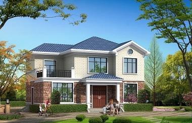 现代二层田园小别墅设计图,占地110平方米左右,经济实用