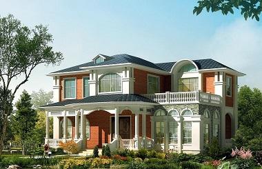 欧式自建二层小别墅设计图,线条圆润,温馨田园小别墅