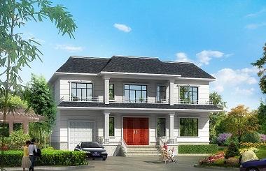 新中式二层自建别墅设计图,带有室内车库,带有阁楼