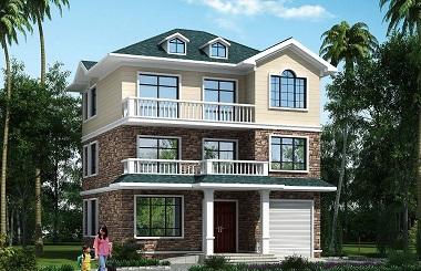 10.4m*12.4m三层中式田园风格小别墅设计图,美观实用