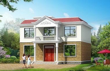 二层平顶自建房屋设计图,占地128平方米左右,经济实用