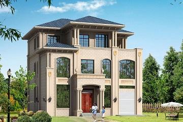 13*14m三层欧式自建房屋设计图,带有室内车库