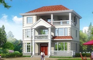 12.24m*11.12m三层田园别墅设计图,布局完善,带有大面积露台