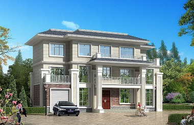 简约大气的三层古典中式自建别墅设计图,造价45万左右