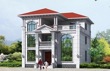高端欧式三层自建复式别墅设计图,占地面积177平方米