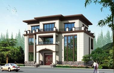 新中式三层平顶自建别墅设计图,14.8m*12.7m,高端大气