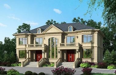 双阳台双拼自建别墅设计图,带有地下室,高端大气,性价比高
