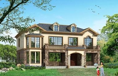 经典配色二层复式别墅设计图,带有老虎窗,采光通风良好
