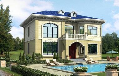 古典二层自建别墅设计图,13*12米,造价35万左右