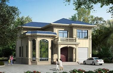 二层自建小别墅设计图,带有室内车库,户型经典,带大面积露台